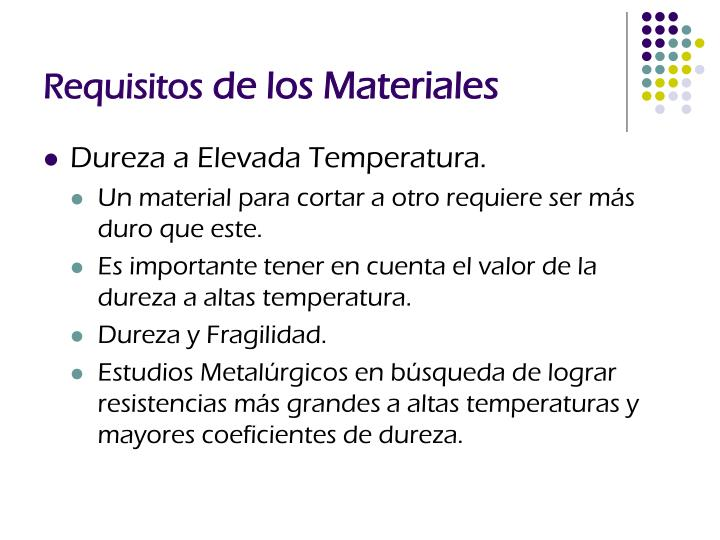 Requisitos de los materiales