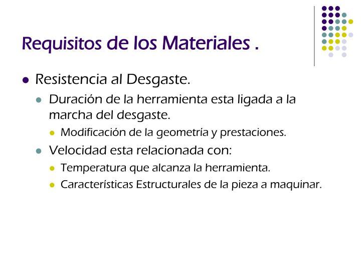 Requisitos de los materiales1