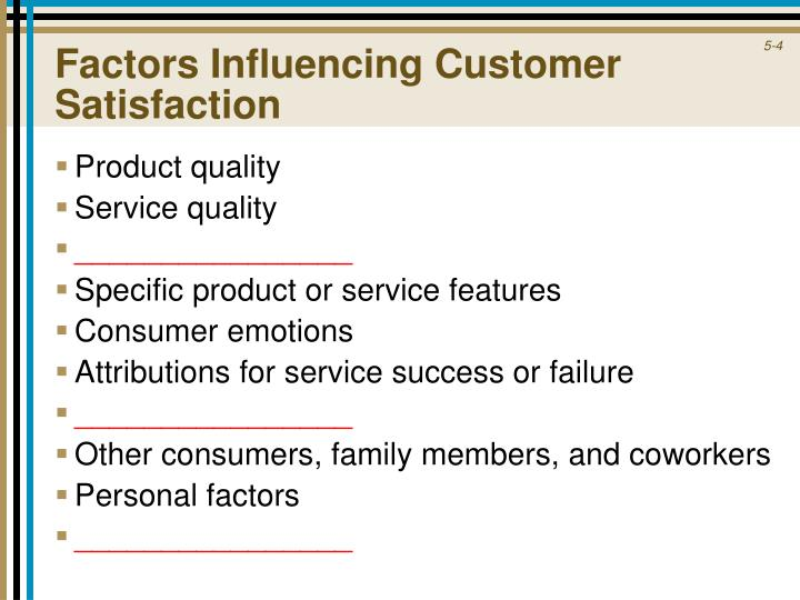 Factors Influencing Customer Satisfaction