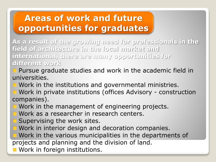 Areas of work and future opportunities for graduates