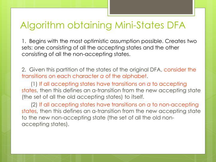 Algorithm obtaining Mini-States DFA