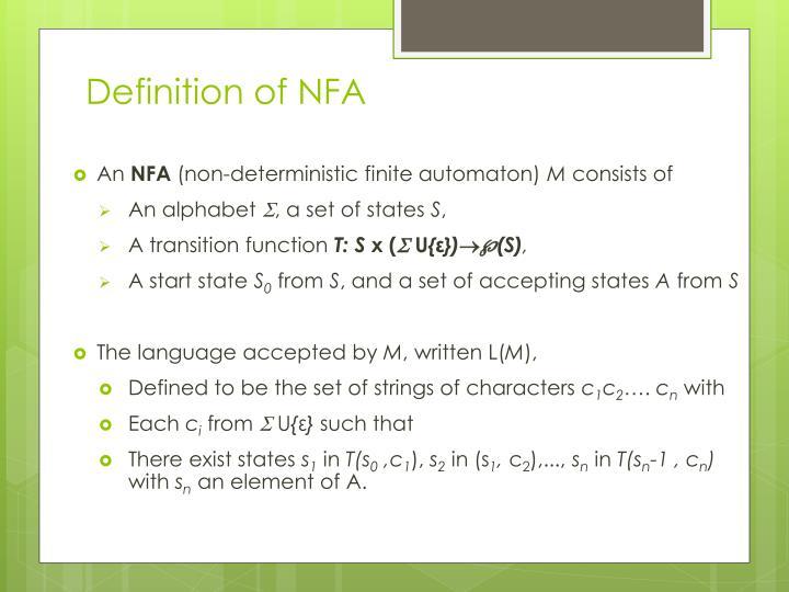 Definition of NFA