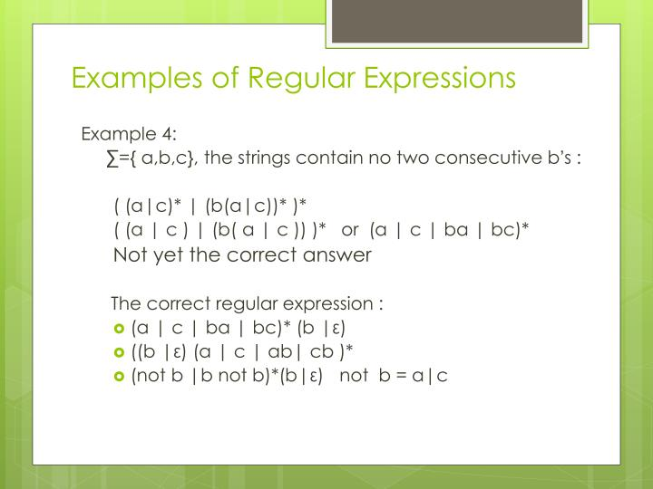 Examples of Regular Expressions