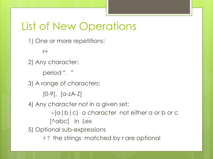 List of New Operations