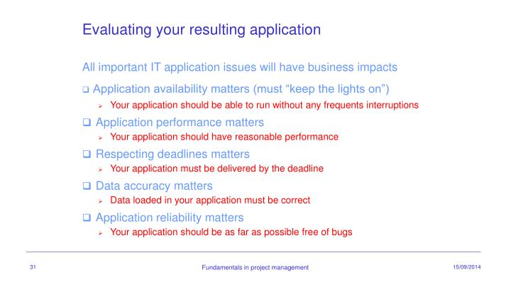 Evaluating your resulting application