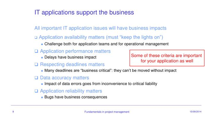 IT applications support