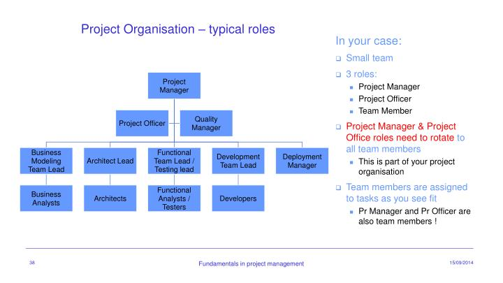 Project Organisation – typical roles
