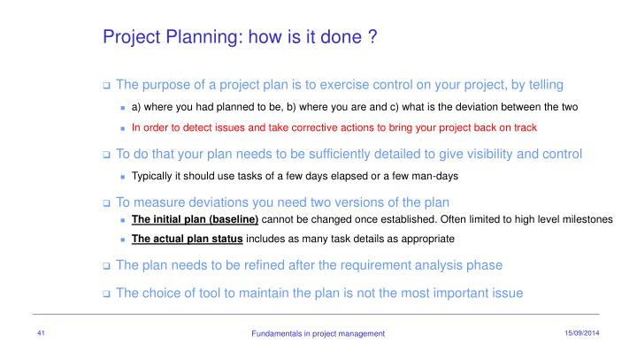 Project Planning: how