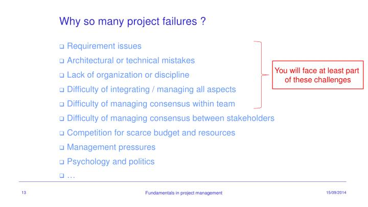 Why so many project failures ?