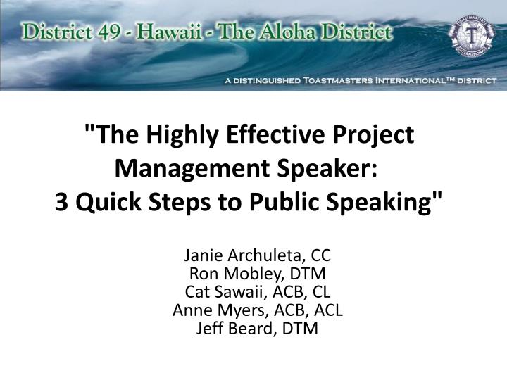 the highly effective project management speaker 3 quick steps to public speaking n.