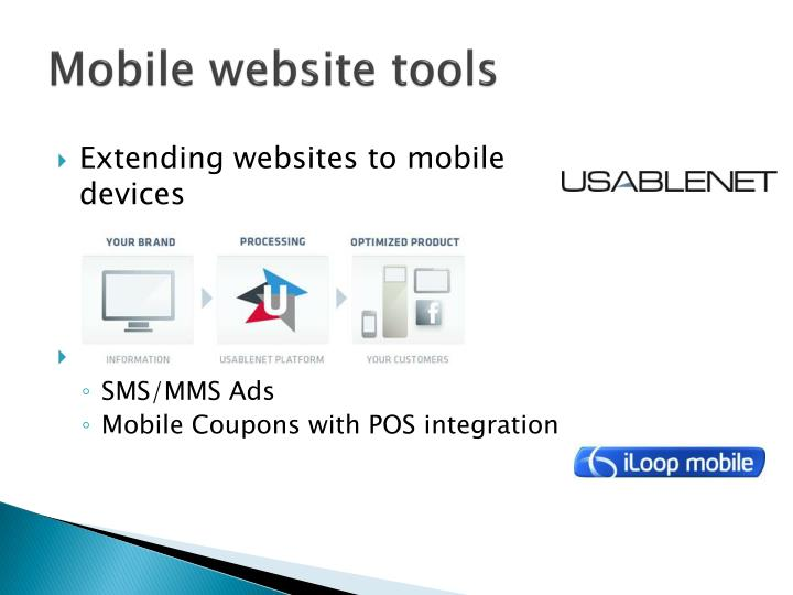 Mobile website tools