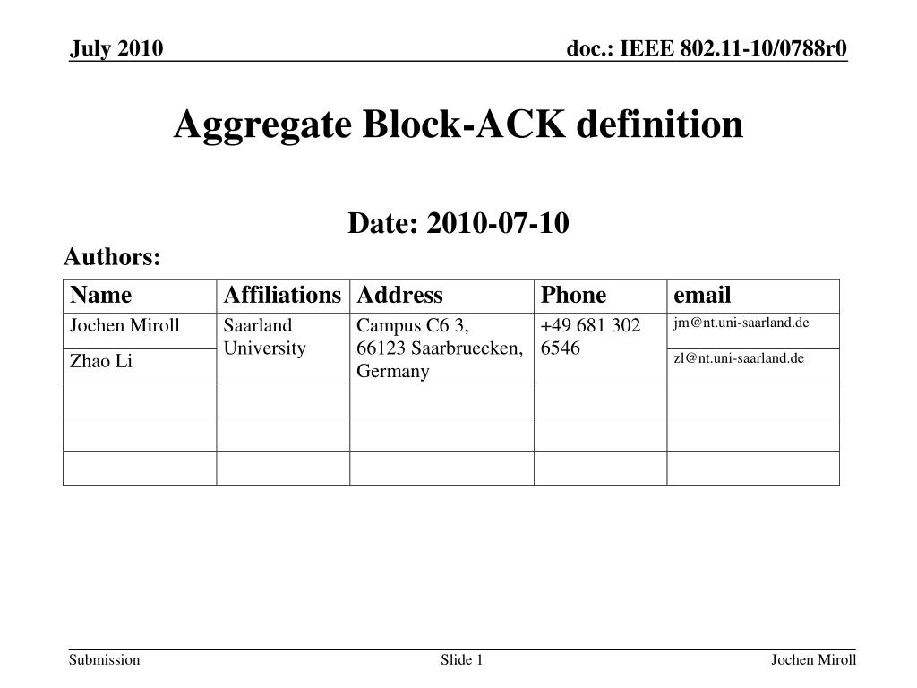 ppt - aggregate block-ack definition powerpoint presentation - id