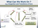 what can we work on e g integration and transitions of care