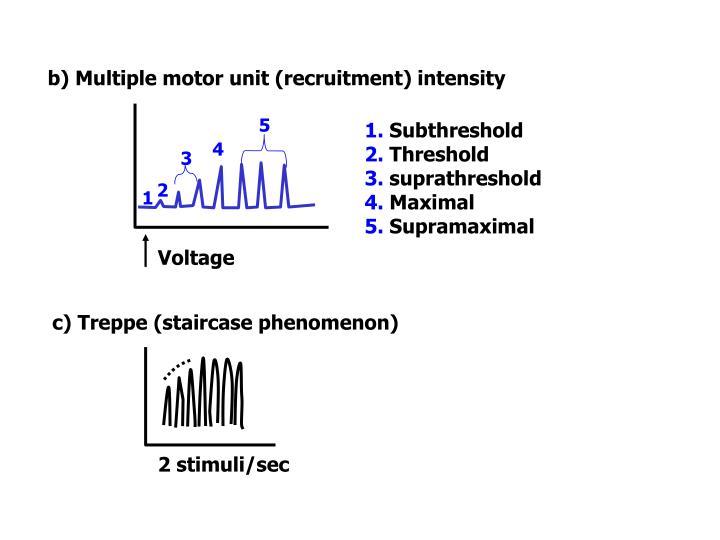 b) Multiple motor unit (recruitment) intensity