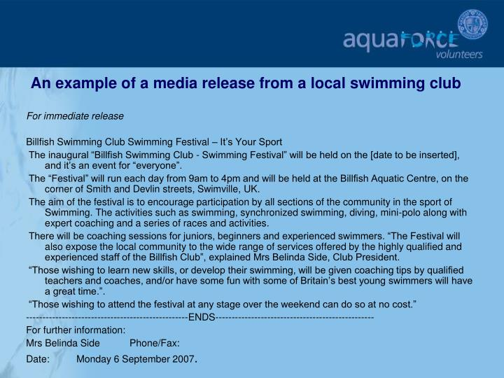 An example of a media release from a local swimming club