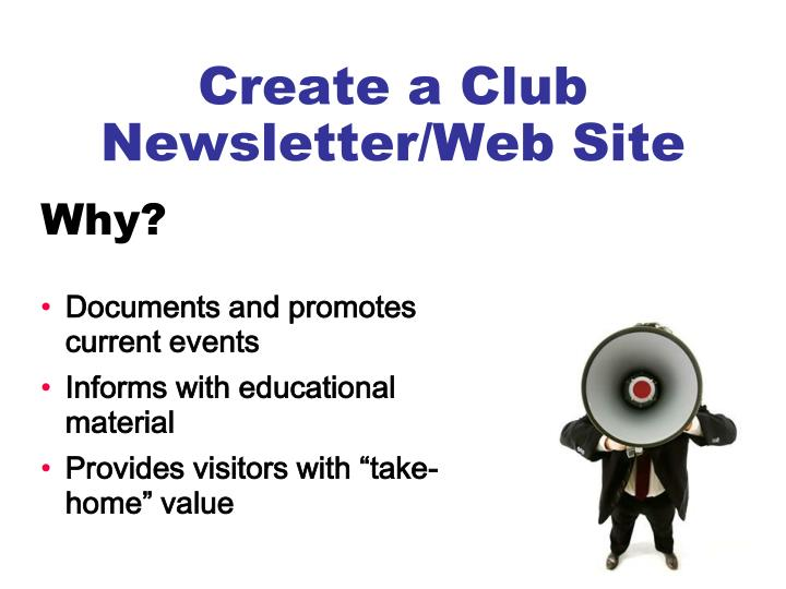 Create a Club Newsletter/Web Site