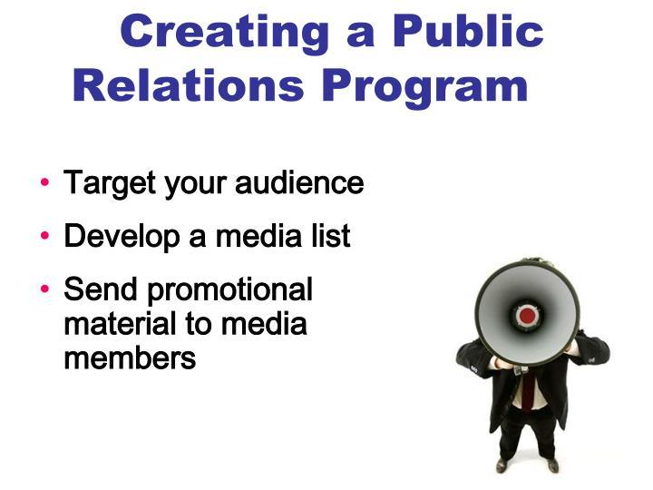 Creating a Public Relations Program