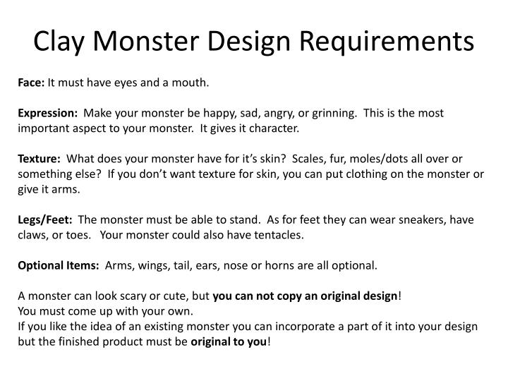 Clay Monster Design Requirements