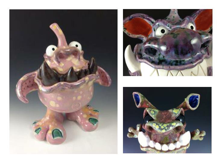 Clay monster sculptures