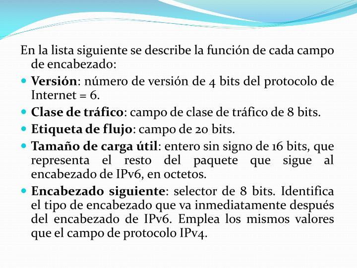 En la lista siguiente se describe la función de cada campo de encabezado: