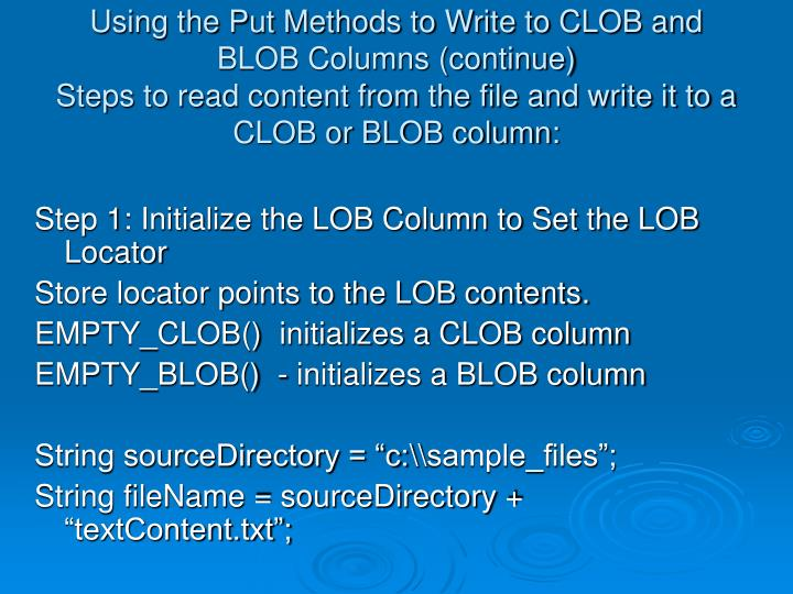 Using the Put Methods to Write to CLOB and BLOB Columns (continue)