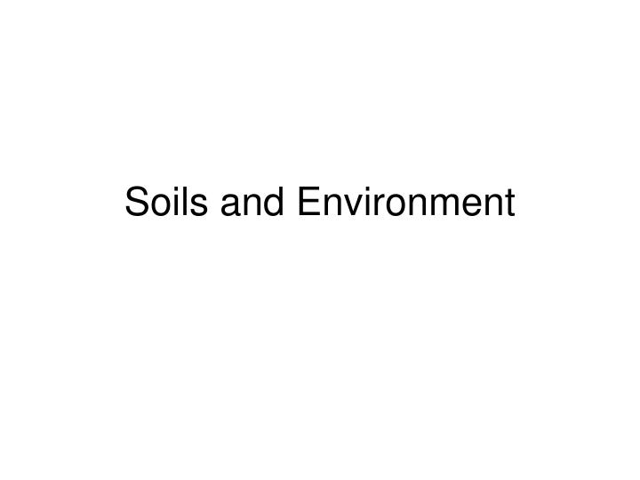 soils and environment n.