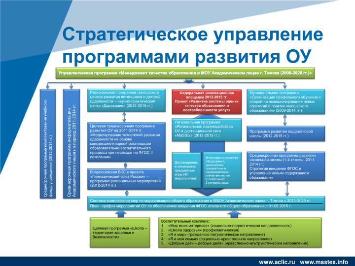 Стратегическое управление программами развития ОУ