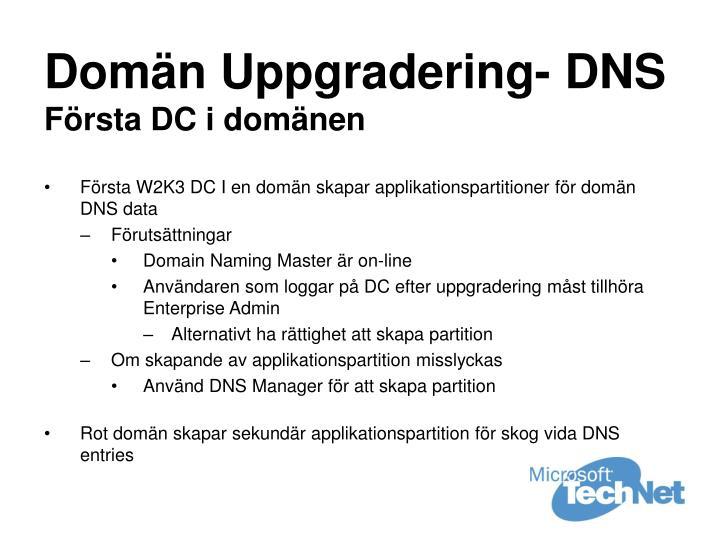 Domän Uppgradering- DNS