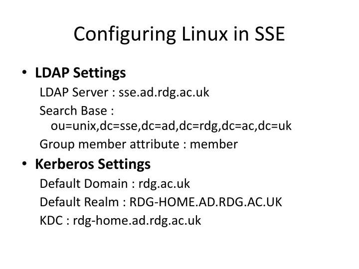Configuring Linux in SSE
