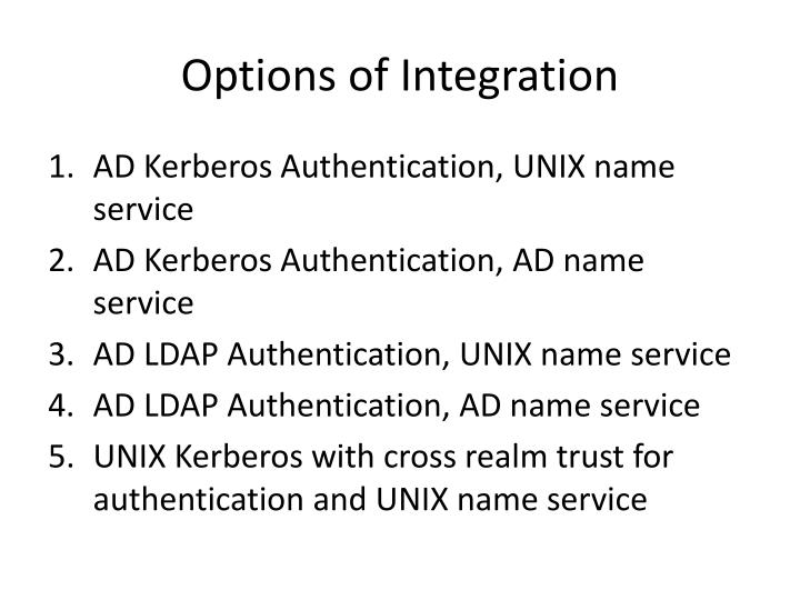 Options of Integration