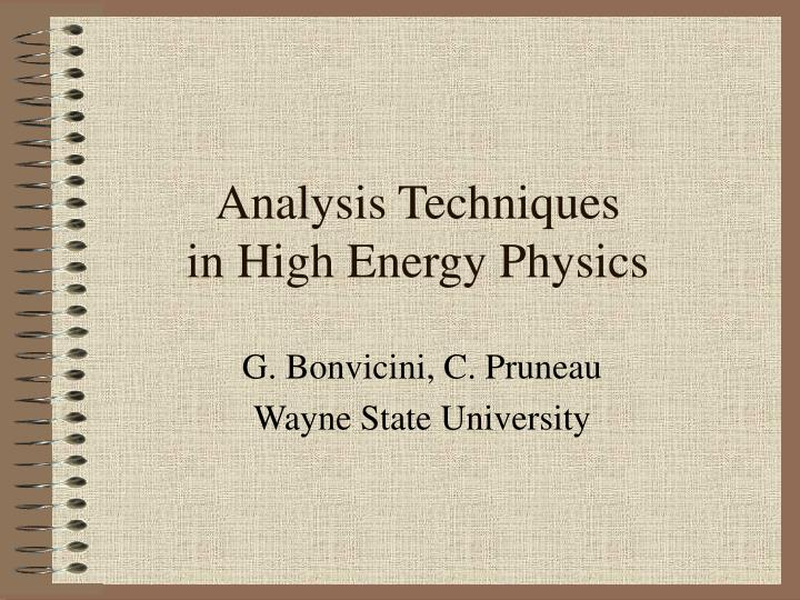 analysis techniques in high energy physics n.