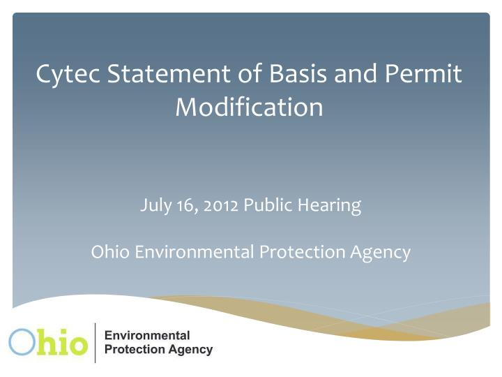 cytec statement of basis and permit modification n.
