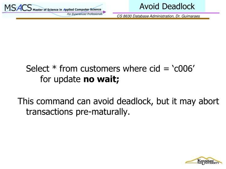 Avoid Deadlock