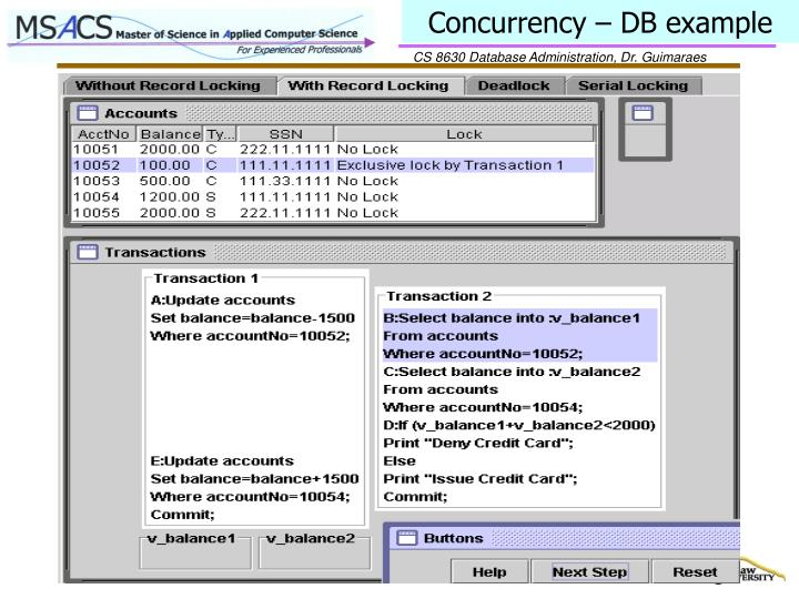 Concurrency – DB example