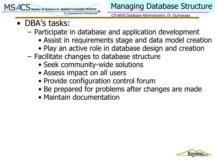 Managing Database Structure