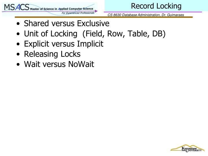 Record Locking