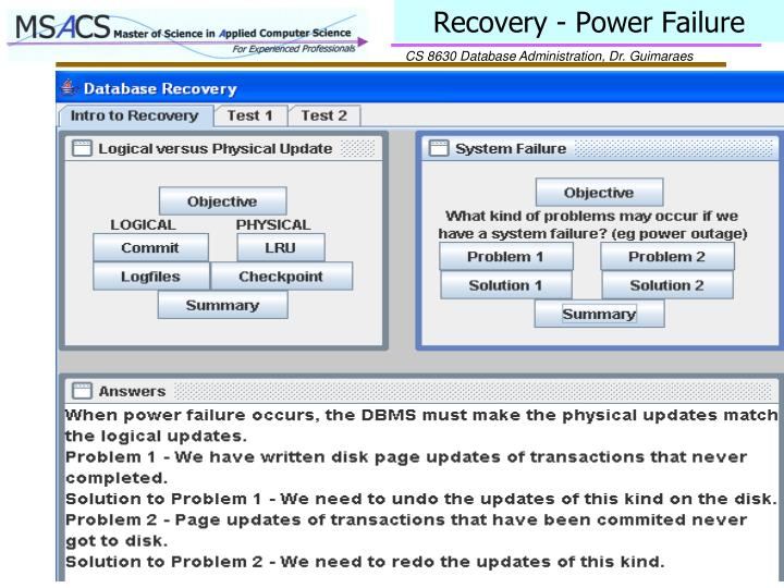 Recovery - Power Failure