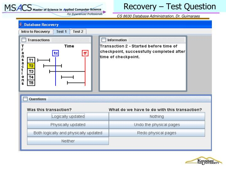 Recovery – Test Question