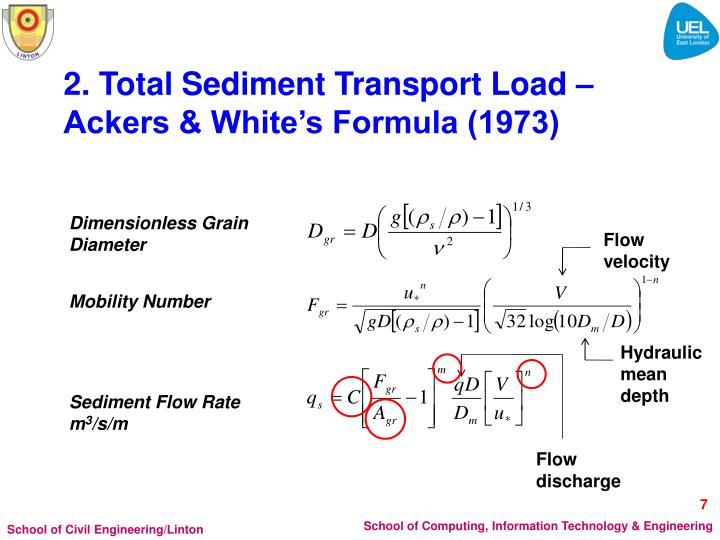 2. Total Sediment Transport Load – Ackers & White's Formula (1973)