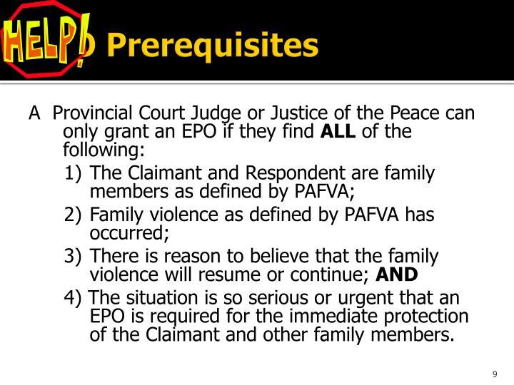 EPO Prerequisites