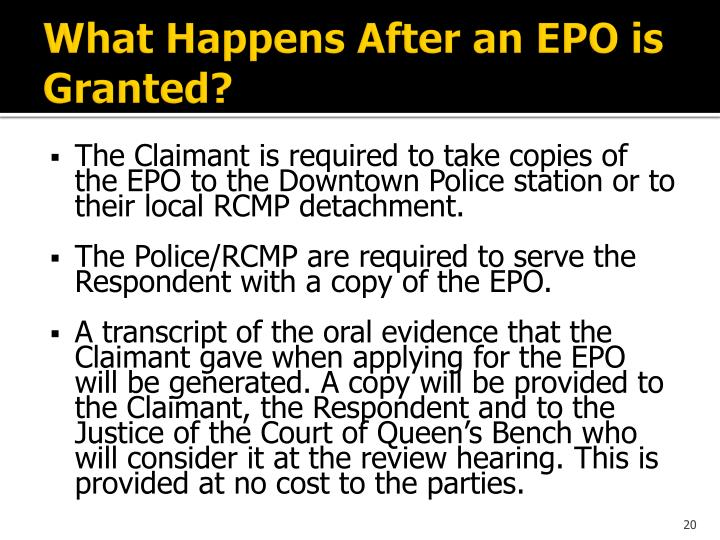 What Happens After an EPO is Granted?