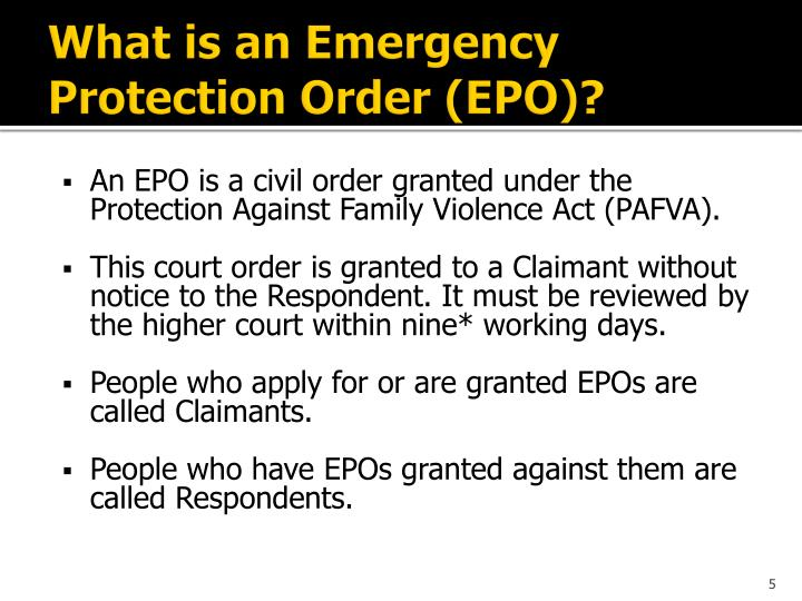 What is an Emergency Protection Order (EPO)?