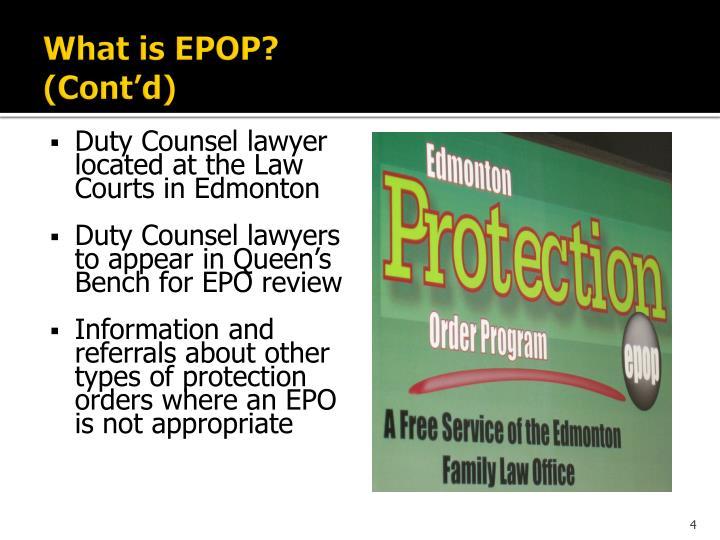 What is EPOP?