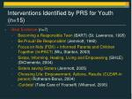 interventions identified by prs for youth n 15