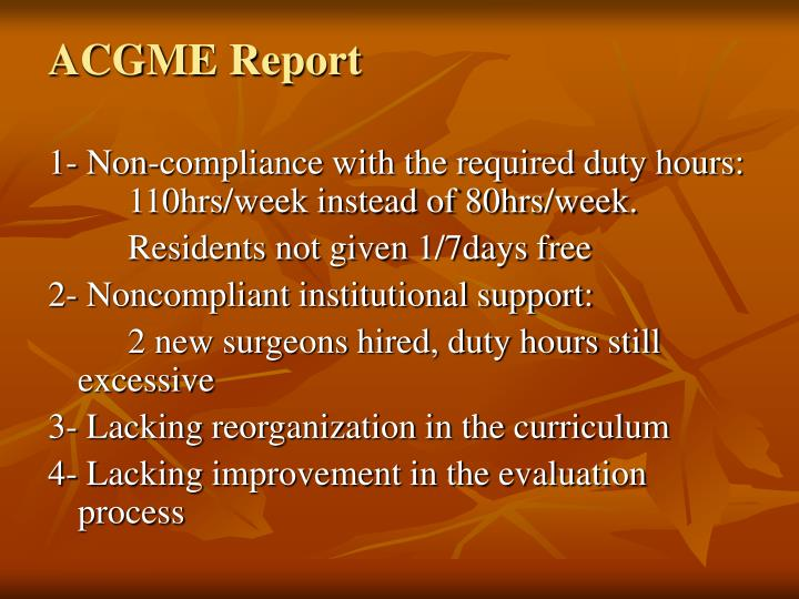 ACGME Report