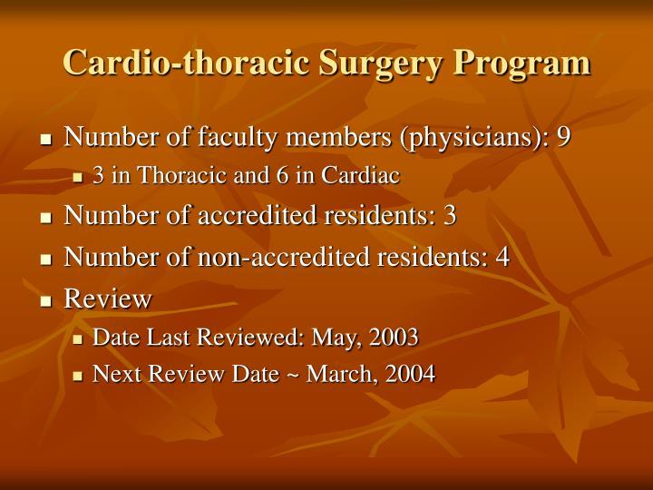 Cardio thoracic surgery program