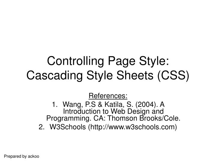 controlling page style cascading style sheets css n.