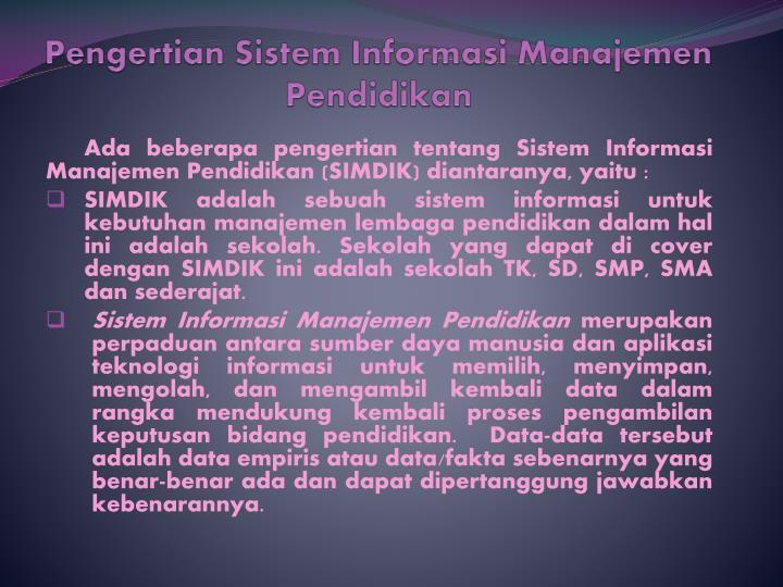 Pengertian Sistem Informasi Manajemen Pendidikan