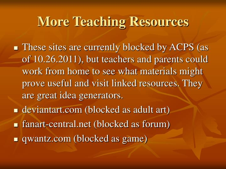 More Teaching Resources