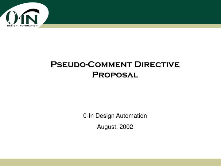 pseudo comment directive proposal n.